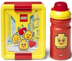 LEGO Iconic Girl tízórai szett üveg és tároló - sárga/piros