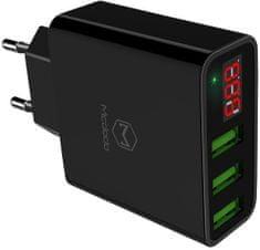 Mcdodo ładowarka z 3x USB Digital Display, bez przewodu, czarna, CH-5031