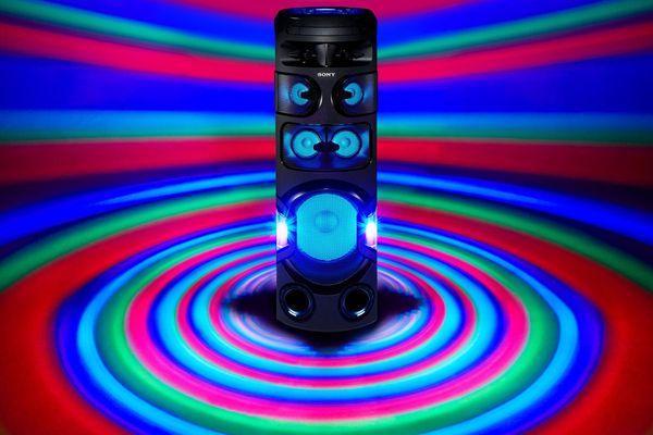 párty reproduktor sony mhc-v72d karaoke fiestable ovládání hlasem kytarový jack upevnění v repro stojanu světelné efekty režim taiko