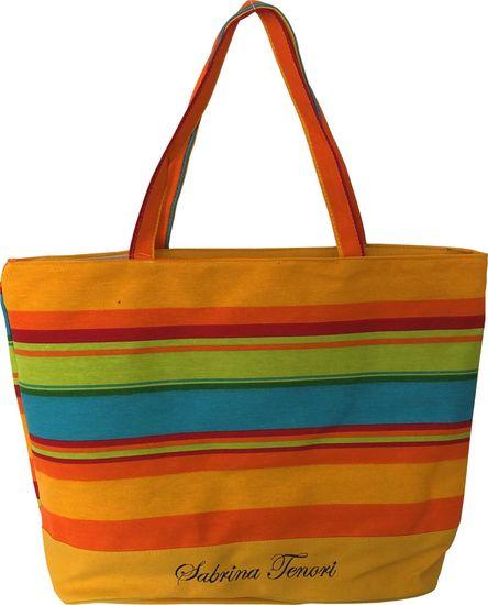 DUE ESSE Plážová taška s farebnými pruhmi B