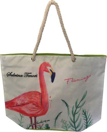 DUE ESSE Plážová taška Plameňák, zelená
