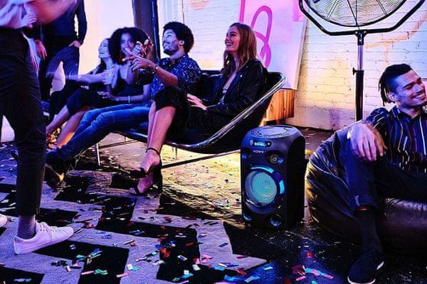 party głośnik sony mhc-v02 party dźwięk jet bass booster cd napęd ldac kodek Bluetooth bezprzewodowy zasięg 10 m dvd odtwarzacz dsp hdmi do TV 360 - stopniowy dźwięk
