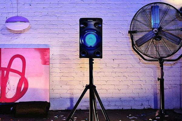 głośnik party sony mhc-v02 karaoke fiestable sterowanie gitarowe gniazdo jack mocowanie w efektach oświetlenia stojaka głośnikowego