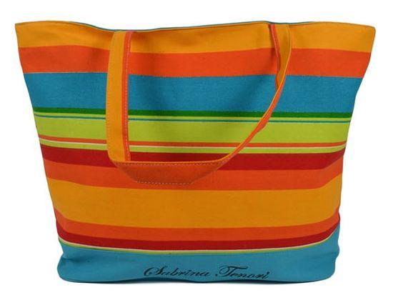 DUE ESSE Plážová taška s farebnými pruhmi D