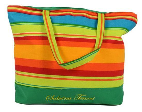 DUE ESSE Plážová taška s farebnými pruhmi E