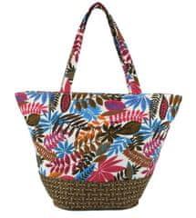 DUE ESSE Plážová taška s farebnými listami a pleteným dnom