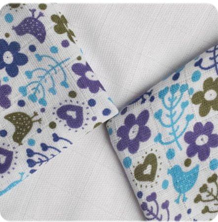 XKKO Bambusz kendők BMB 30 x 30 cm - Flowers&Birds Boys MIX, kék