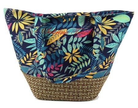 DUE ESSE Plážová taška s farebnými listami a pleteným dnom B