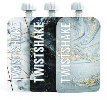 Twistshake Plnitelná kapsička 3x100 ml Mramorově šedá