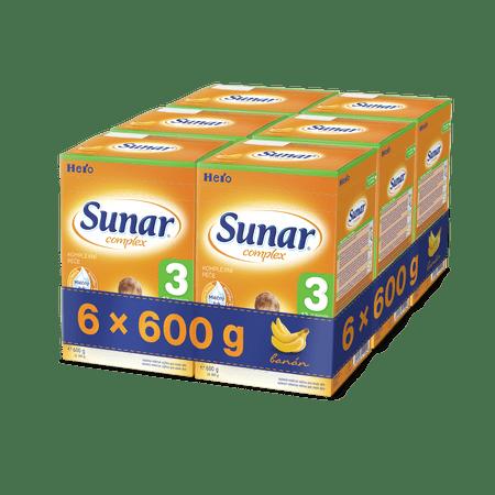 Sunar kojenecké mléko Complex 3 banán - 6 x 600g