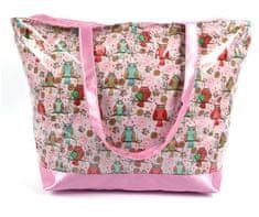 DUE ESSE Plážová ružová taška Onshore PVC motív sovy