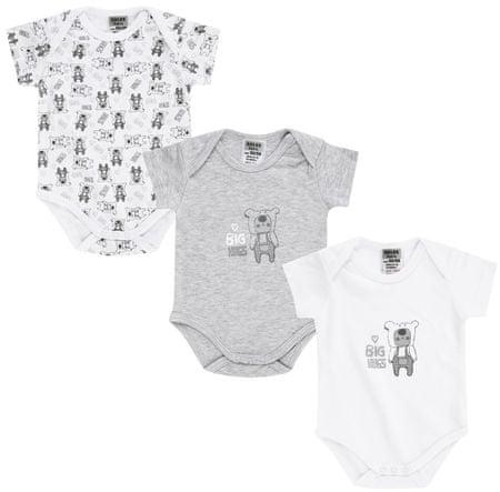 Jacky zestaw body dziecięcych 3 szt. 50-56 szary/biały