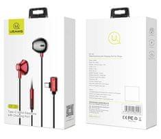 USAMS EP-33 Type C Stereo Headset vč. dobíjecího portu Red (EU Blister), 2445084