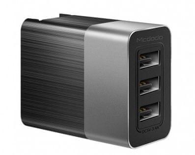Mcdodo Cube nabíječka 3xUSB bez kabelu, 3,4A, černá, CH-5341