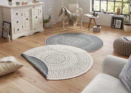 Bougari Kusový koberec Twin-Wendeteppiche 103143 creme graun 140x140 kruh