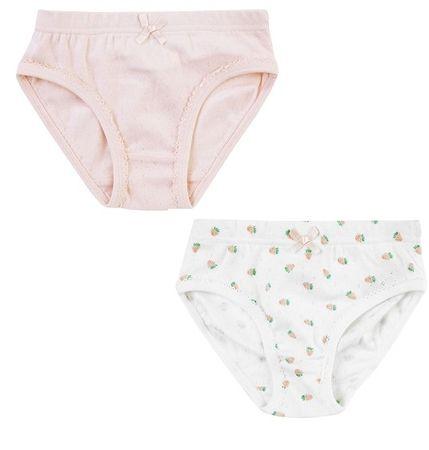 Jacky zestaw majtek dziewczęcych, 2 szt. 122 - 128 biały/różowy