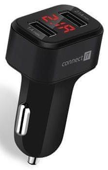 Connect IT InCarz Digi nabíječka do auta s digitálním displejem, černá, CCC-4020-BK