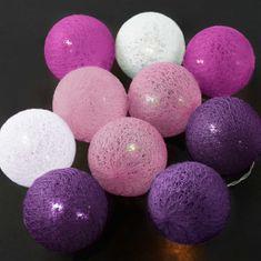 Butlers IN THE MOOD Světelný řetěz 10 koulí - růžová/fialová/bílá