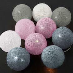 Butlers IN THE MOOD Světelný řetěz 10 koulí - šedá/růžová/modrá/bílá