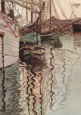 Grafika Puzzle 1000 dílků Egon Schiele : Voiliers dans l'eau au Port de Tries