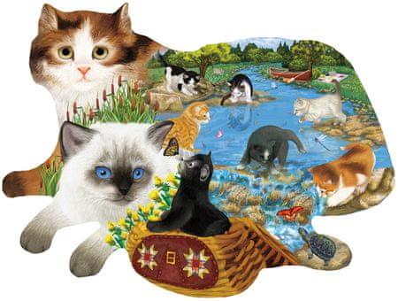 SunsOut Puzzle 1000 db Ashley Davis - Fishing Kittens