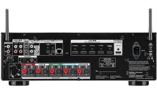 av receiver denon avr-s650h 5.2 kanálů hdcp 2.3 5 hdmi vstupů 1 výstup dolby vision hybrid log gamma hlg heos avr remote app propojení s TV jediným HDMI kabelem