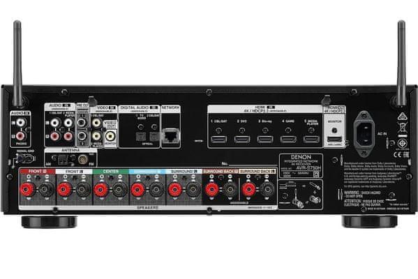 av receiver DENON AVR-s750h 7.2 kanálov HDCP 2.3 6 hdmi vstupov 1 výstup dolby vision hybrid log gamma HLG heos avr remote app prepojenie s TV jediným HDMI káblom