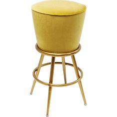 KARE Žlutá čalouněná barová stolička Lady Rock