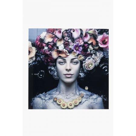KARE Skleněný obraz Flower Art Lady 80×80 cm