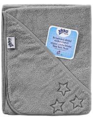 XKKO Organic, BIO pamučni ručnik s kapuljačom, 90x90 cm, Silver Stars, siva