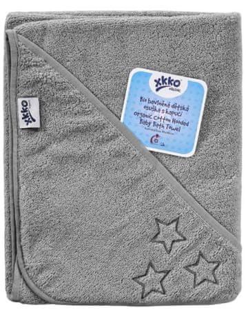 XKKO ręcznik z kapturem BIO bawełna frotte Organic 90x90cm - Silver Stars