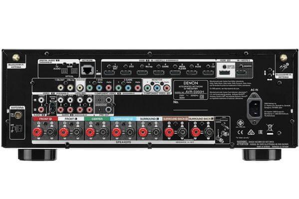 av receiver denon avr-s950h 7.2 kanálů hdcp 2.3 8 hdmi vstupů 2 výstupy dolby vision hybrid log gamma hlg heos avr remote app propojení s TV jediným HDMI kabelem hires audio