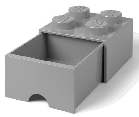 LEGO Úložný box 4 so zásuvkou šedá