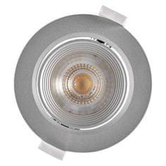 Emos LED bodové svítidlo stříbrné, kruh, teplá bílá (7 W)