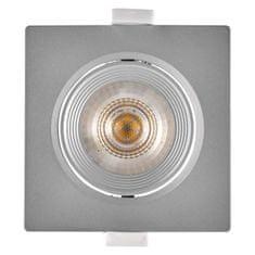 EMOS LED bodové svietidlo strieborné, štvorec, teplá biela (7 W)