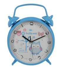 DUE ESSE Nástenné hodiny v tvare budíka so sovou 25,5 cm, modré