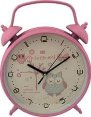 DUE ESSE Nástenné hodiny v tvare budíka so sovou ø 25,5 cm, ružové