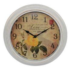 DUE ESSE Nástenné retro hodiny s kvetmi žltá ruža 30,5 cm, Provence