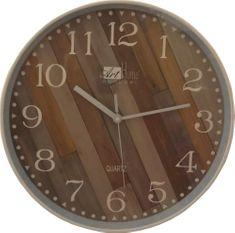 DUE ESSE Nástěnné hodiny efekt dřevo šikmé latě 30 cm