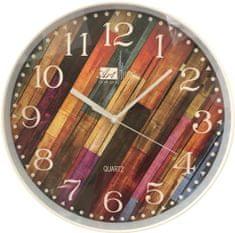 DUE ESSE Nástěnné hodiny efekt dřevo pestrobarevné šikmé latě 30 cm