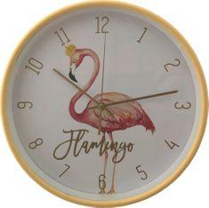 DUE ESSE Nástěnné hodiny Plameňák 25 cm, žluté