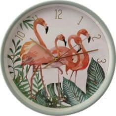 DUE ESSE Nástěnné hodiny Plameňák 25 cm, zelené