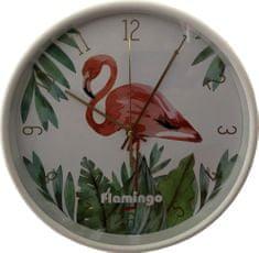 DUE ESSE Nástěnné hodiny Plameňák 25 cm, bílé
