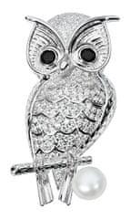JwL Luxury Pearls Krásná brož sova s pravou perlou a krystaly JL0508