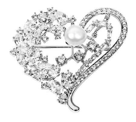 JwL Luxury Pearls Luxusní brož srdce s pravou perlou a krystaly 2v1 JL0506