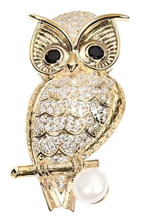 JwL Luxury Pearls Pozlacená brož sova s pravou perlou a krystaly JL0509