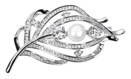 JwL Luxury Pearls Kouzelná brož peříčko s pravou perlou a krystaly JL0517