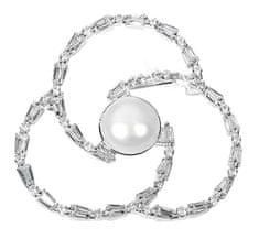 JwL Luxury Pearls Perlová brož trojlístek s krystaly JL0519