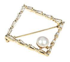 JwL Luxury Pearls Třpytivá pozlacená brož s pravou perlou JL0520