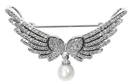 JwL Luxury Pearls Luxusní brož andělská křídla s pravou perlou a krystaly JL0528